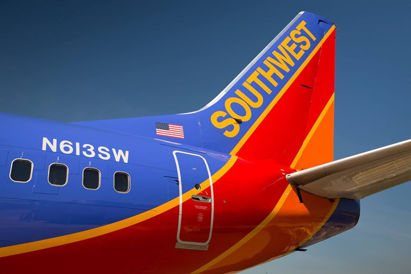 SOUTHWEST tail of plane