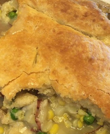 chicken pot pie in pan 2