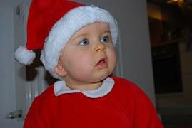santa baby in red hat