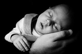 wonder baby asleep on hand