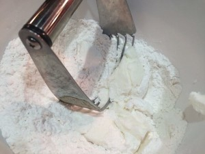 biscuits cutter in flour