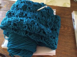 Partially crocheted prayer shawl