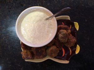 Sausage balls with Honey Dijon Mustard/Greek Yogurt