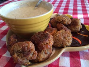 Sausage balls with dip